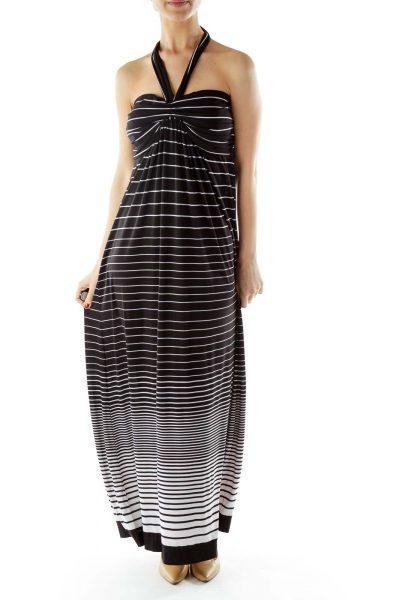 Black White Striped Halter Maxi Dress