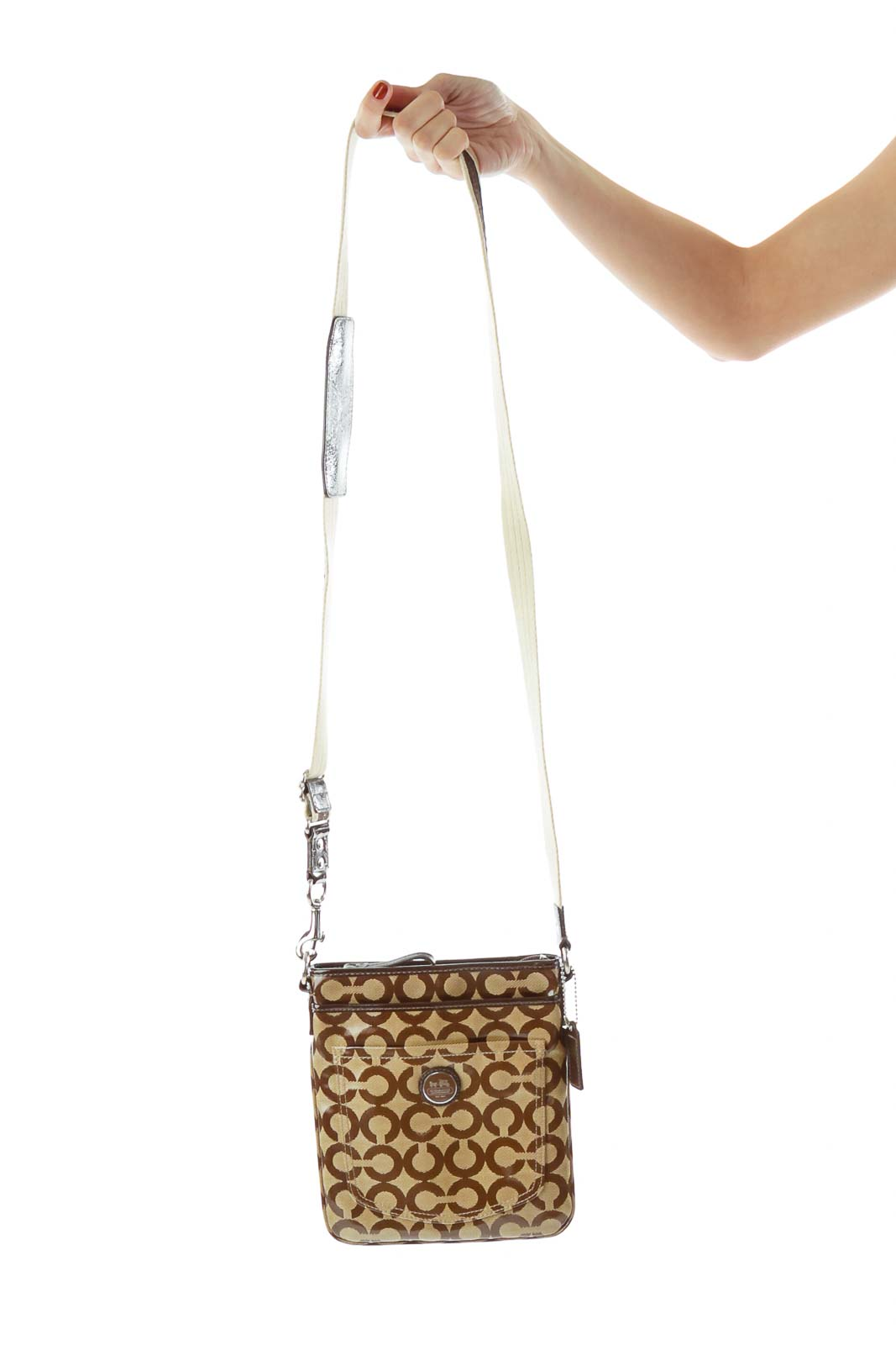 d27cd14b Shop Brown Coach Print Crossbody Bag clothing and handbags at ...