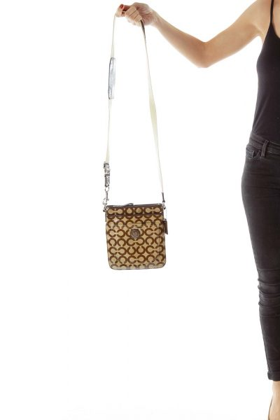 Brown Coach Print Crossbody Bag