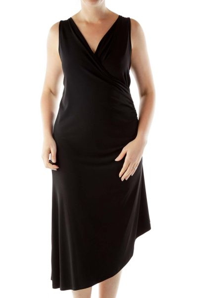 Black Sleeveless Wrap Work Dress