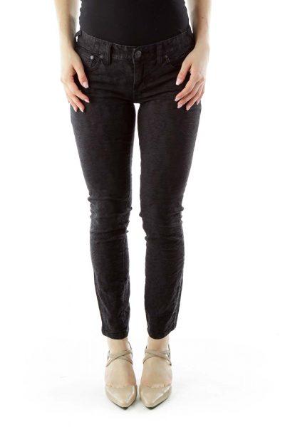 Black Textured Skinny Jeans