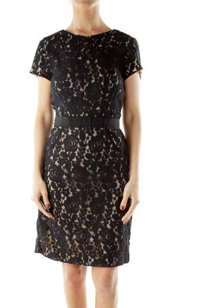 Black Beige Cocktail Dress