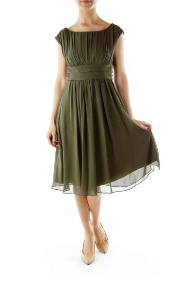 Green Boatneck Empire Waist Dress