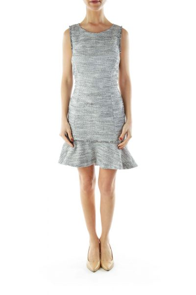 Gray Tweed Sleeveless Round Neck Work Dress