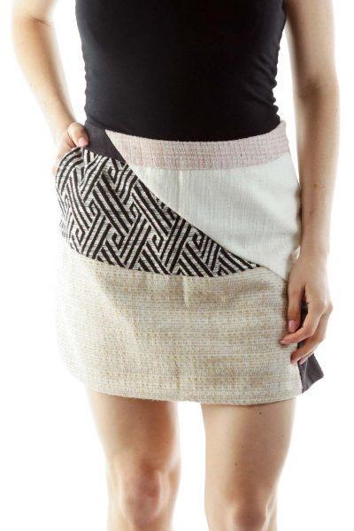 Beige Tweed Mini Skirt