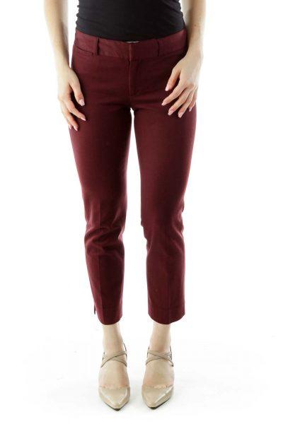 Purple Straight-Leg Pants