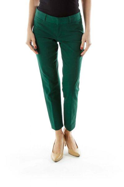 Green Straight-Leg Pants