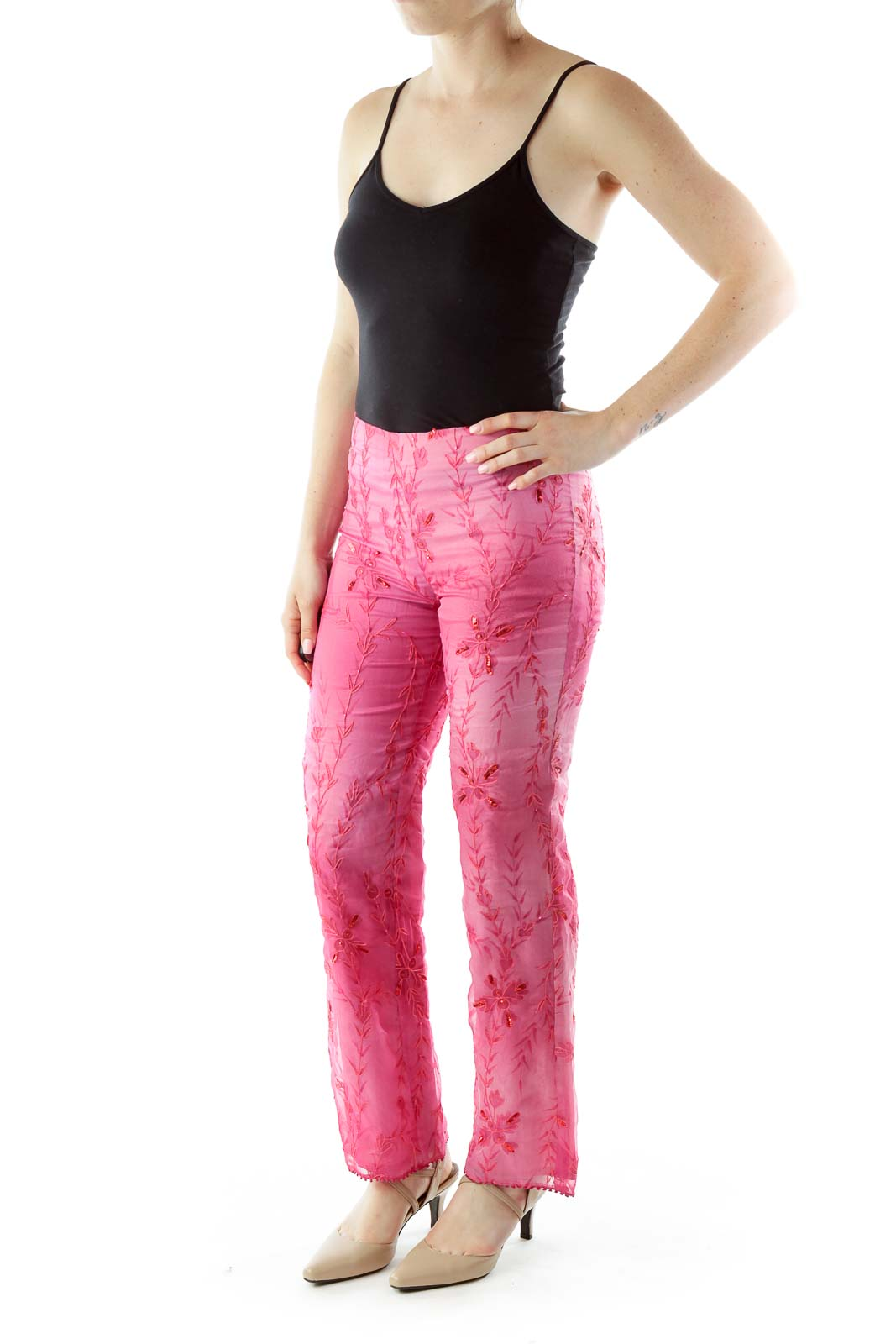 Pink Sequin Stitched Pants