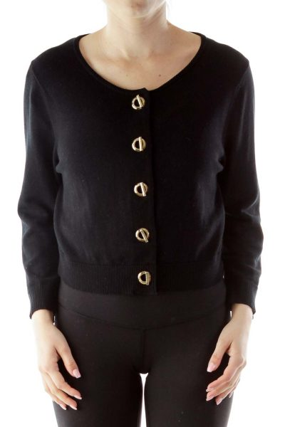 Black Round Neck Buttoned Cardigan