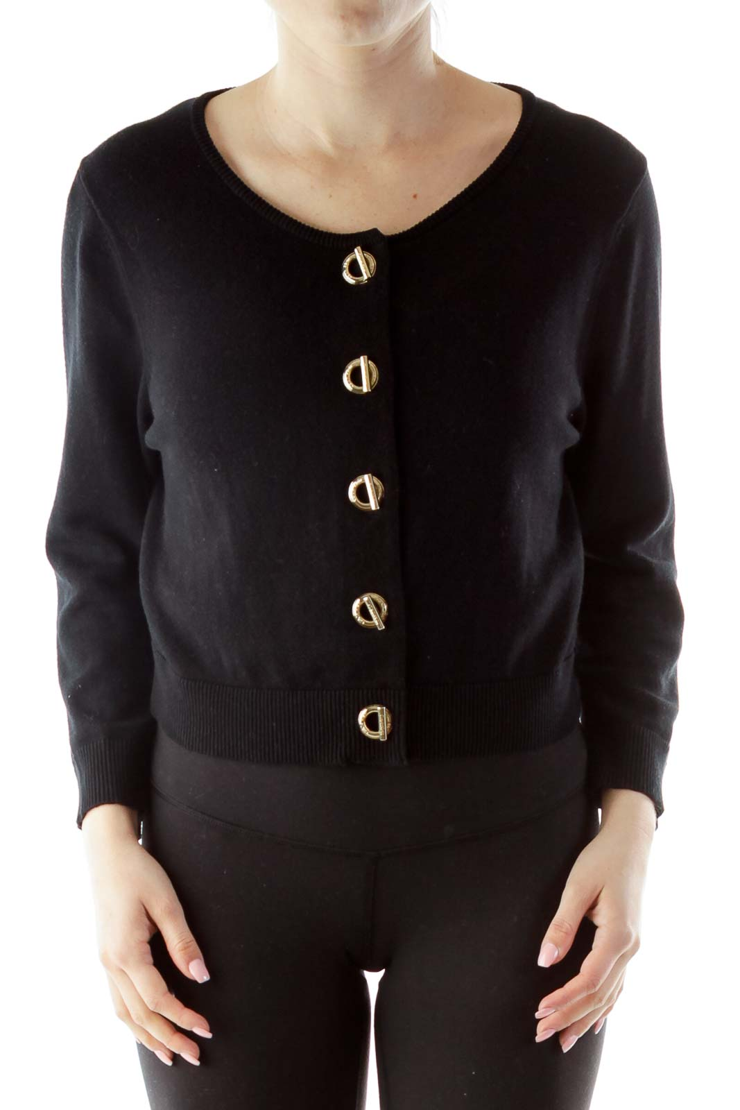 Black Round Neck Buttoned Cardigan
