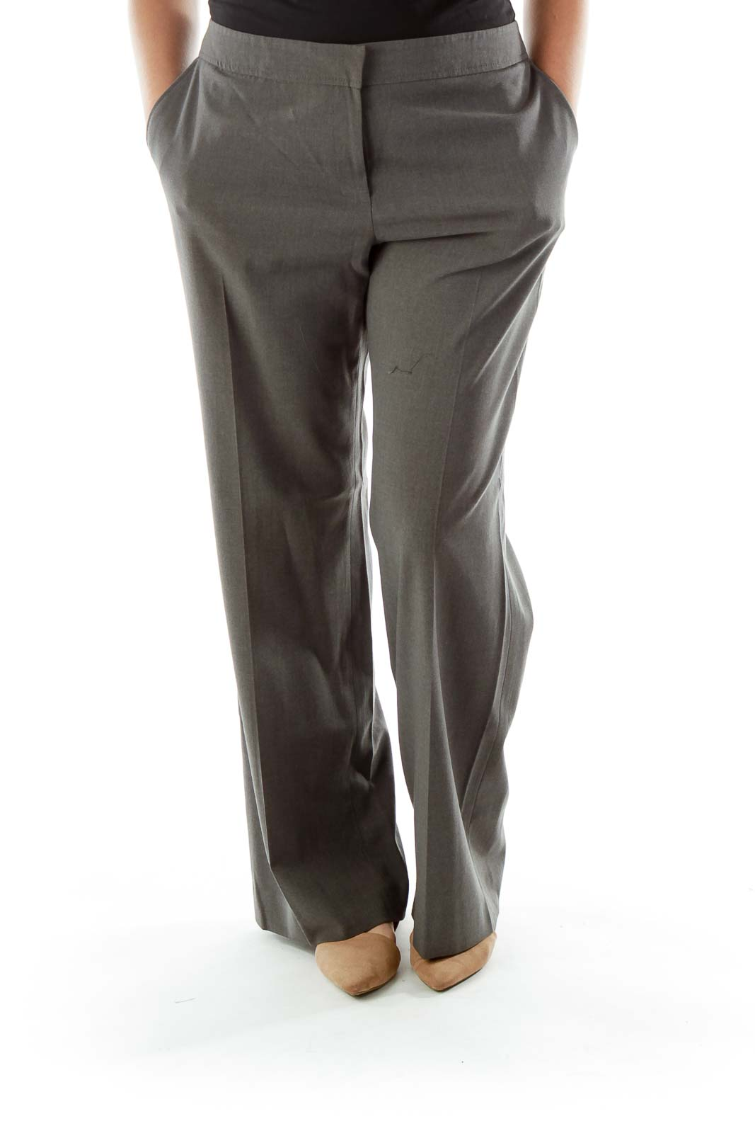 Gray Wide-Leg Slacks