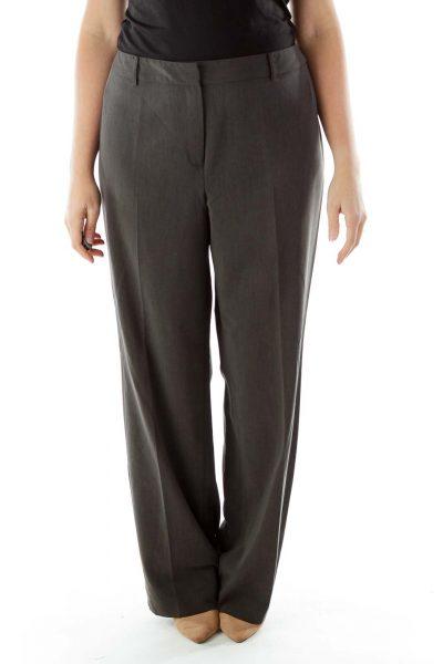Gray Straight-Leg Slacks