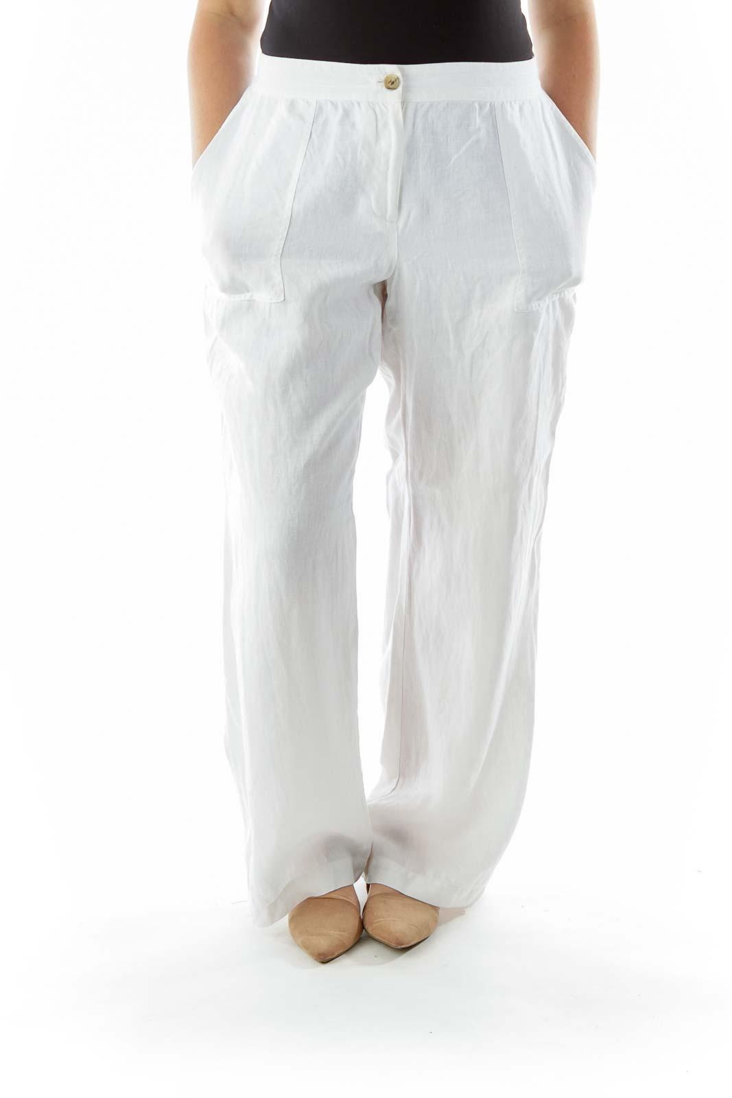 White Linen Wide-Leg Pants