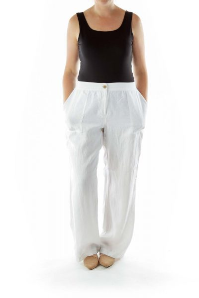 White Linen Wide-Leg Pants