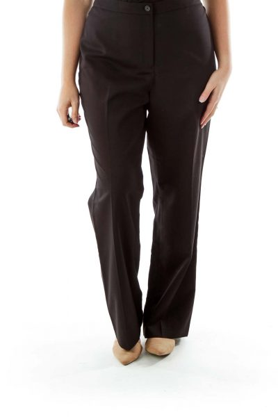 Black Straight-Leg Slacks