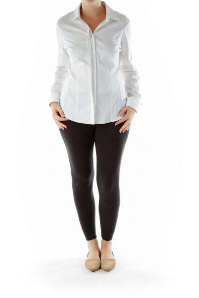 White Collared Buttoned Blouse