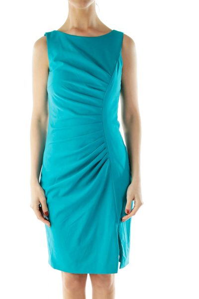 Green Sleeveless Pencil Work Dress