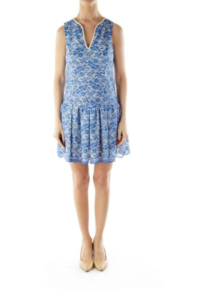 Blue Lace Sleeveless V-Neck Day Dress