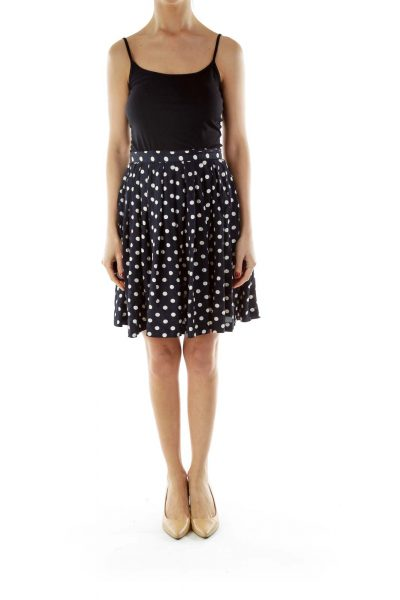 Blue Polka-Dot Flared Skirt