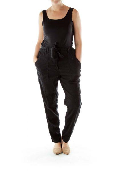Black Straight-Leg Linen Pants
