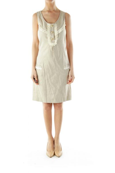 Beige Buttoned Pocketed Sleeveless Day Dress