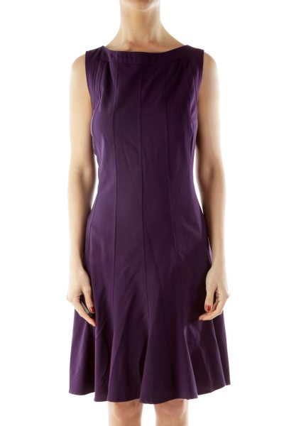 Purple Sleeveless Work Dress