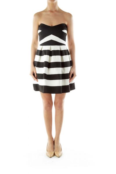 Black White A-Line Strapless Day Dress