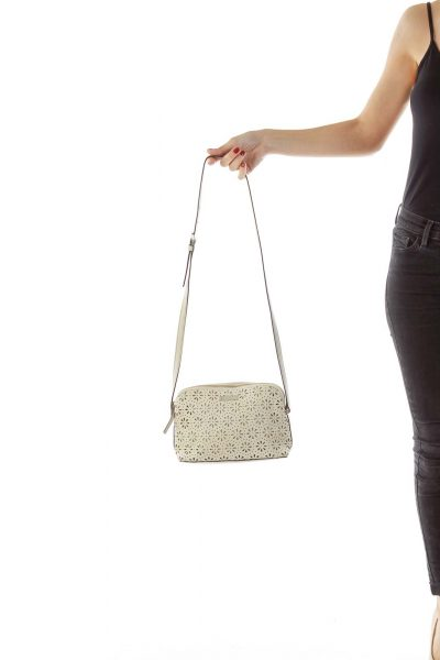 Beige Flower Detail Crossbody Bag