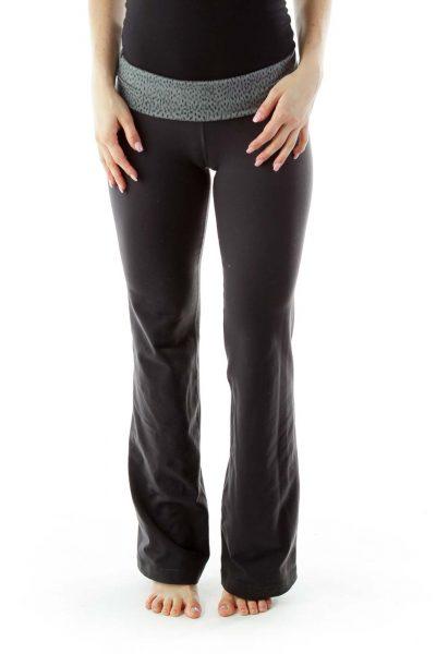 Gray Straight-Leg Yoga Pants