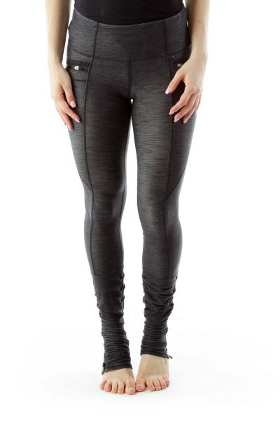 Gray Zippered Yoga Pants