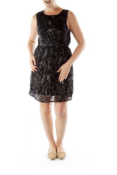 Black Sequined Cocktail Dress