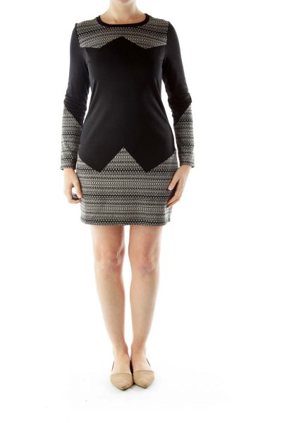 Black Beige Print Knit Dress