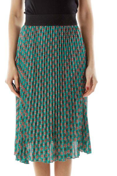 Blue Green Print Pleated Skirt