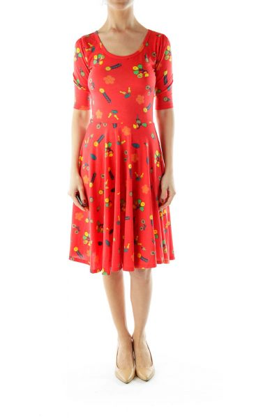 Red Flower Print A-Line Dress