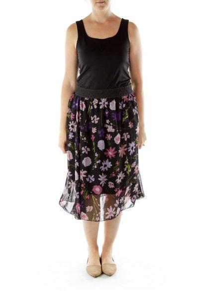 Black Purple High-Waisted Skirt