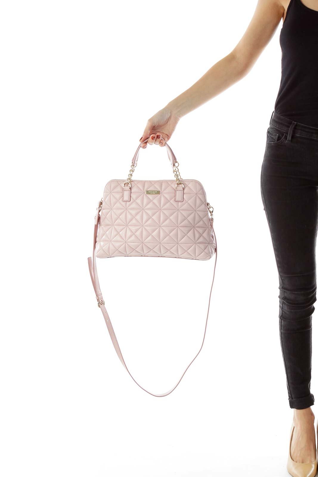 Pink Leather Handle-Bag