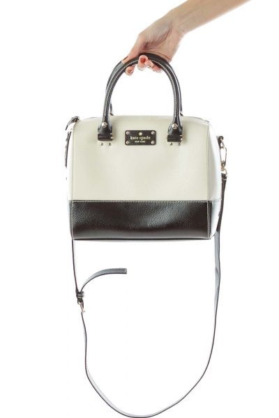 Beige Black Crossbody Handbag
