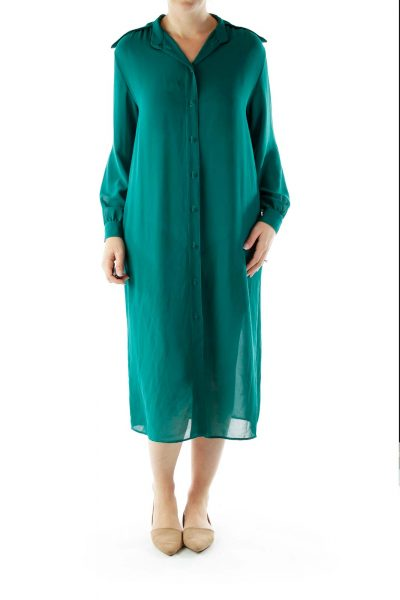 Green Buttoned Shirt Dress