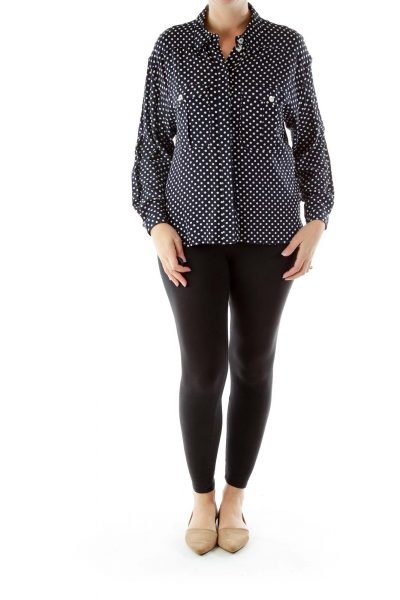 Navy Cream Polka Dot Blouse