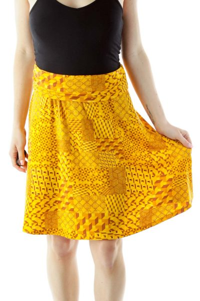 Yellow Brown Geometric Print Skirt