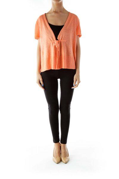 Orange Open Linen Vest