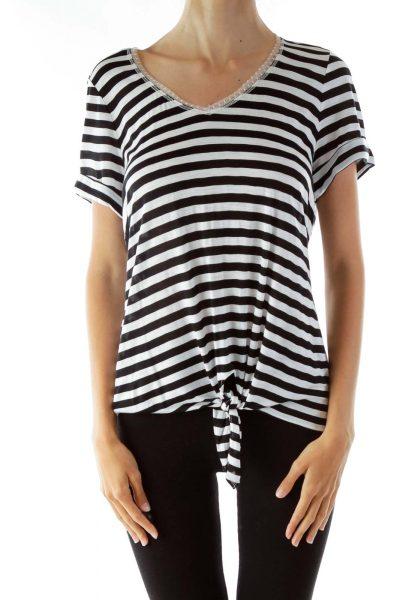 Black White Striped V-neck T-Shirt