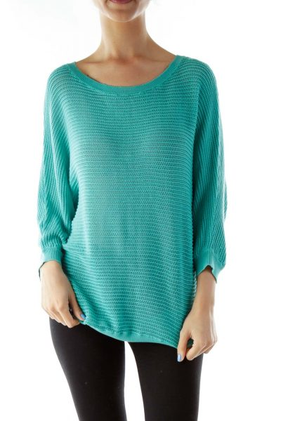 Blue Ribbed Loose Knit Top