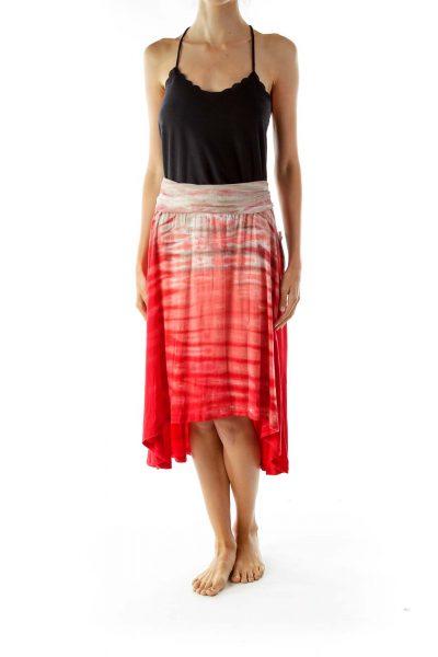 Red Tie Dye Flared Skirt