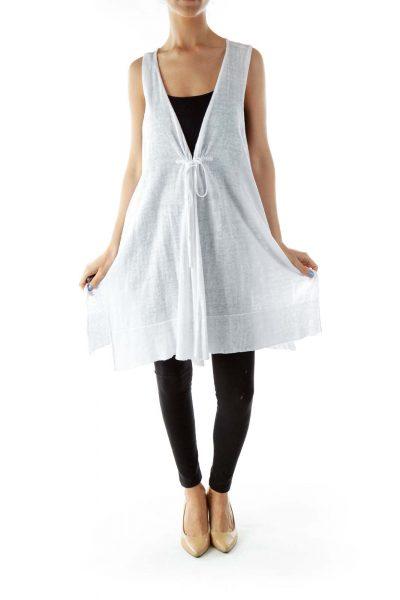 White Open Linen Vest