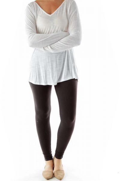 White V-neck Long-sleeve Shirt