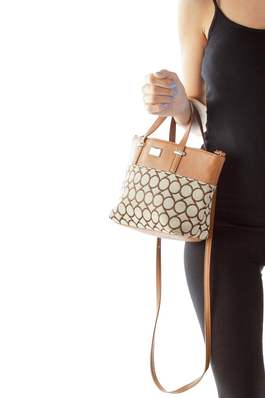 Brown Printed Crossbody Bag