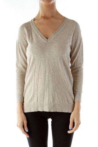 Beige V-Neck Knit Sweater