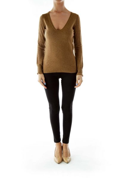 Brown V-Neck Knit Sweater
