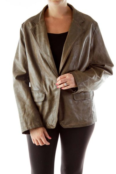 Brown Faux-Leather Buttoned Jacket